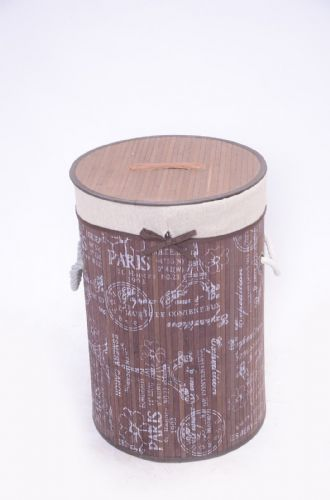 BROWN FLEUR DE PARIS BAMBOO LAUNDRY BASKET WASHING CLOTHES FOLDABLE STORAGE BIN - ROUND